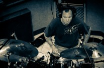 Christian laying down drum tracks for Day of the Dead EP