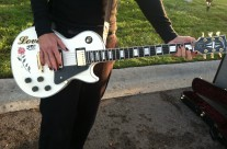 "The trusty Gibson Les Paul Custom at the ""War Story"" video shoot, San Diego CA."